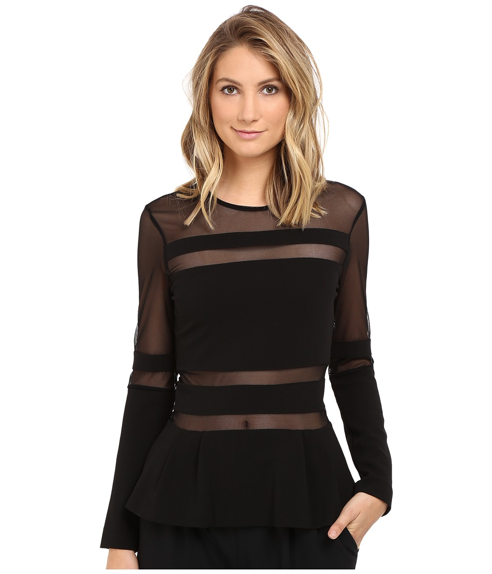 Nicole Miller - Lili Structured Jersey Top (Black) Women's Clothing