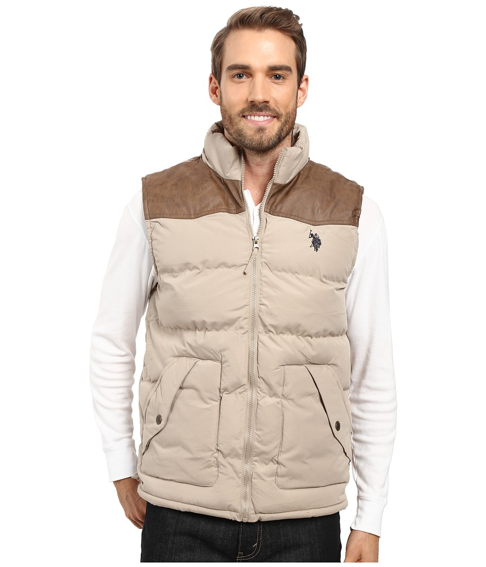 U.S. POLO ASSN. - Western Yoke Puffer Vest (Thompson Khaki) Men's Vest