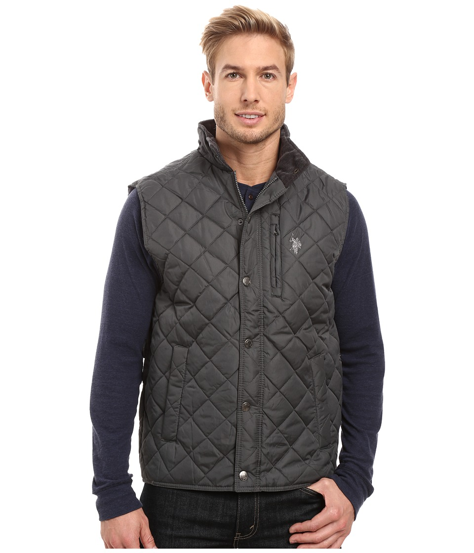 U.S. POLO ASSN. - Diamond Quilted Vest with Corduroy Collar (Dark Shadow) Men's Vest