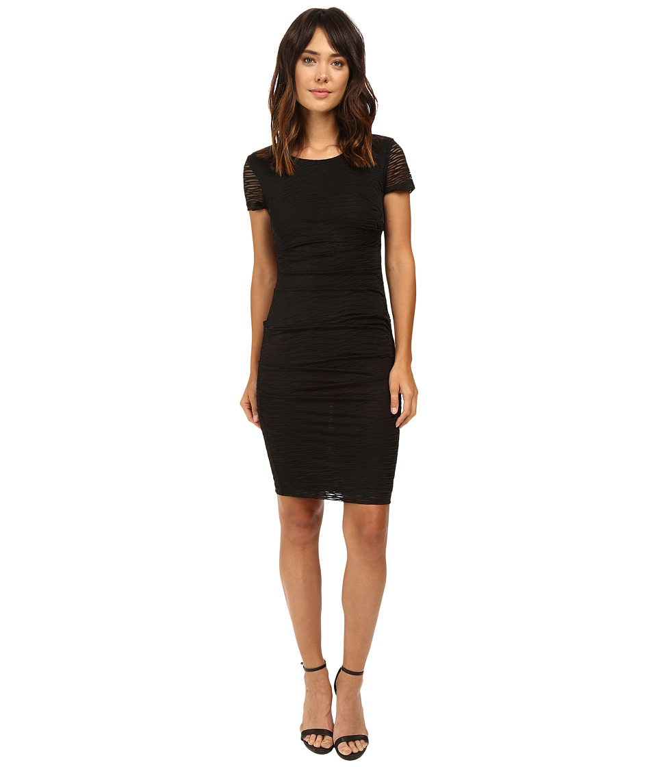 Nicole Miller Brunout Jersey Short Sleeve Dress (Black) Women