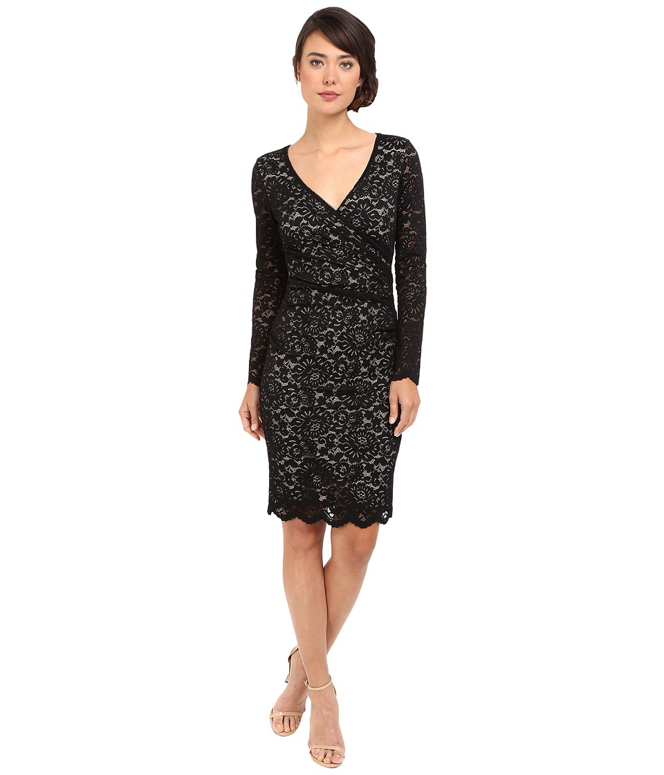 Nicole Miller Floral Stretch Lace Long Sleeve Dress (Black/Nude) Women