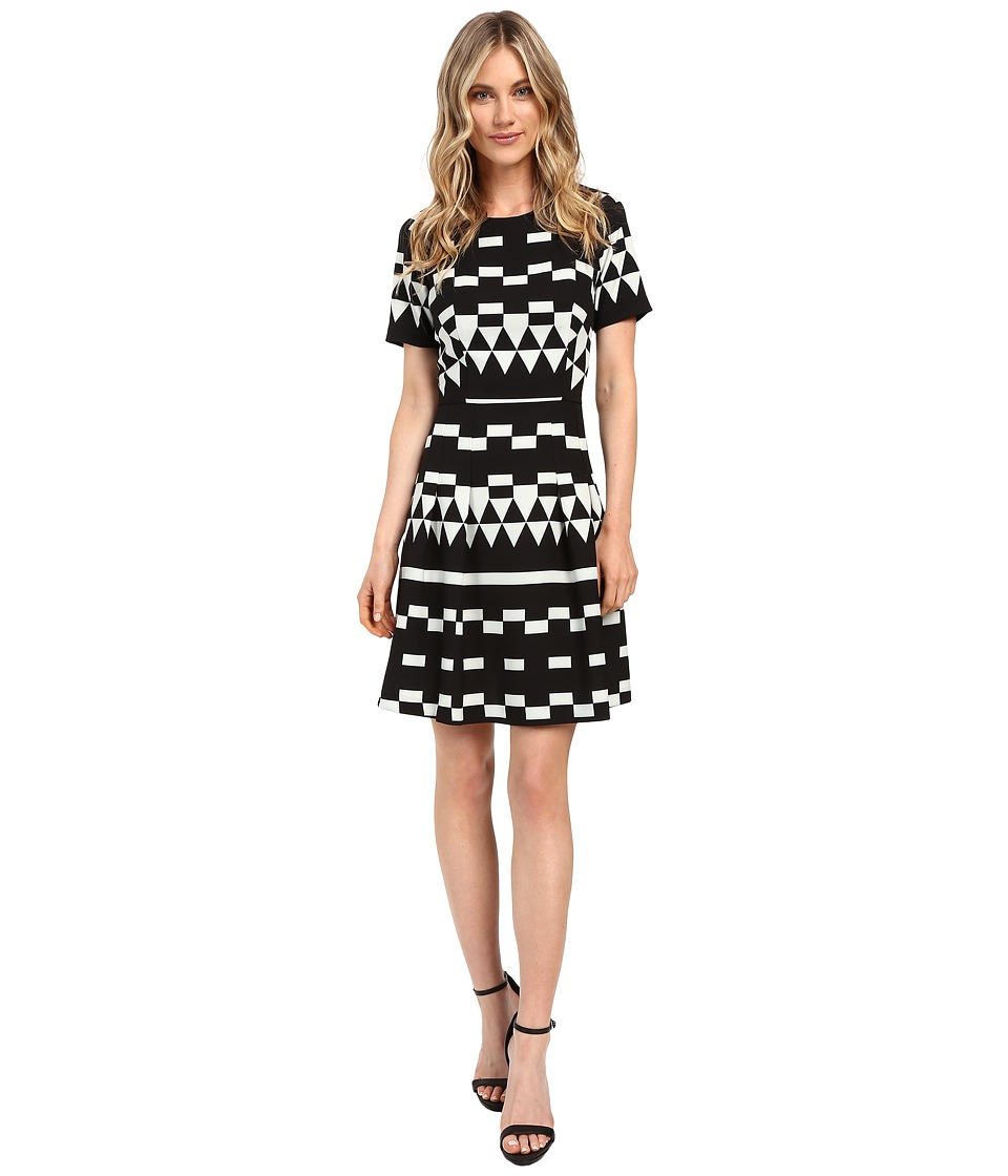 Nicole Miller Aztec Lulu Fit and Flare (Black/White) Women