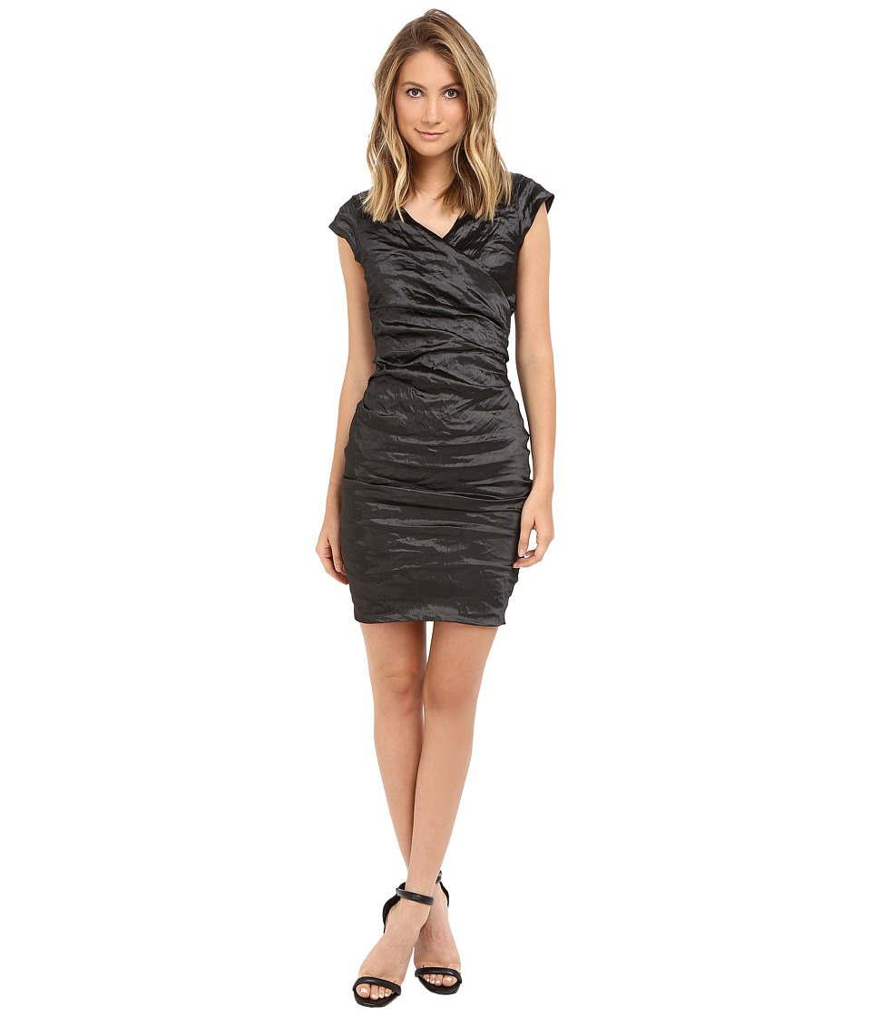 Nicole Miller Beckette Techno Cap Sleeve Dress (Black) Women