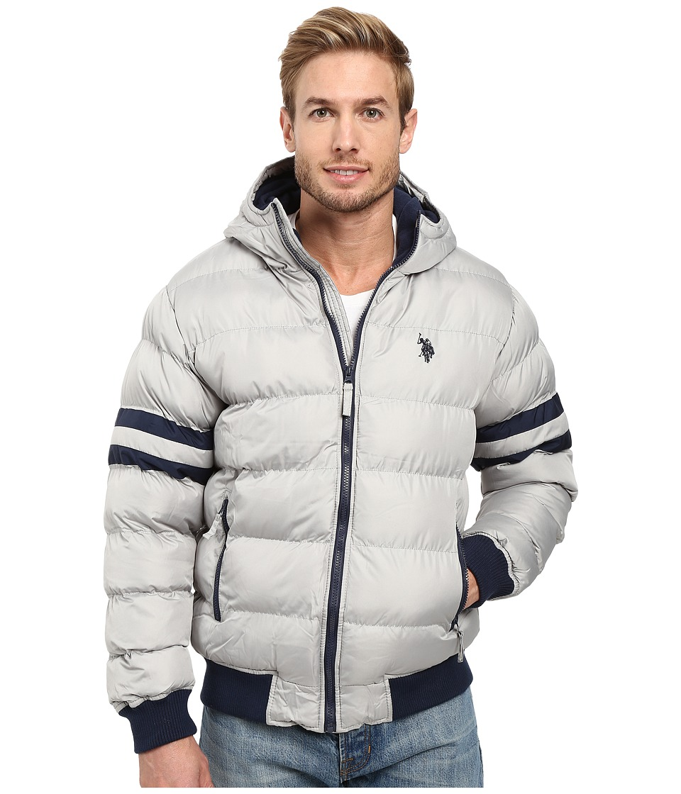 U.S. POLO ASSN. - Hooded Bomber with Sleeve Stripes (Limestone) Men's Jacket