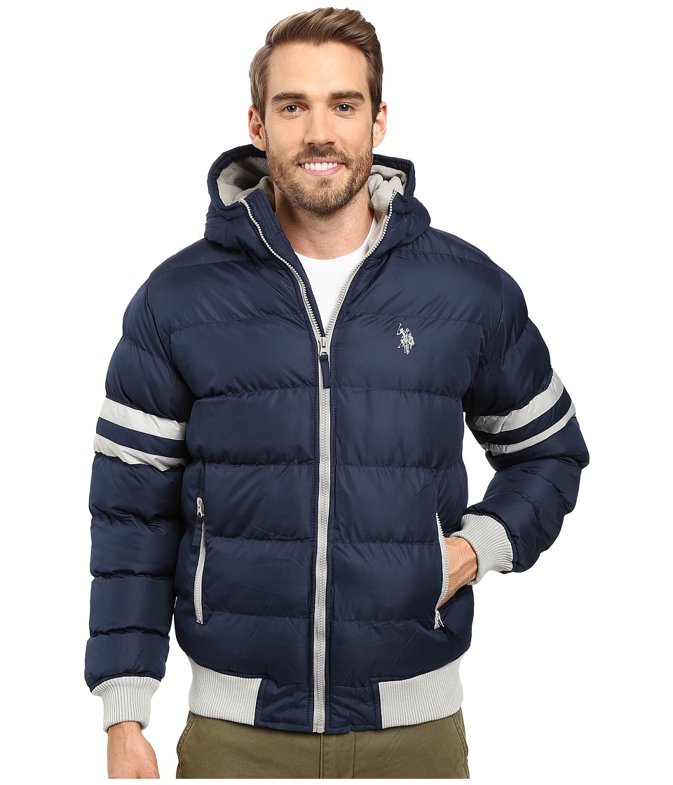 U.S. POLO ASSN. - Hooded Bomber with Sleeve Stripes (Classic Navy) Men's Jacket