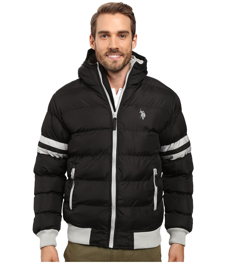 U.S. POLO ASSN. - Hooded Bomber with Sleeve Stripes (Black) Men's Jacket