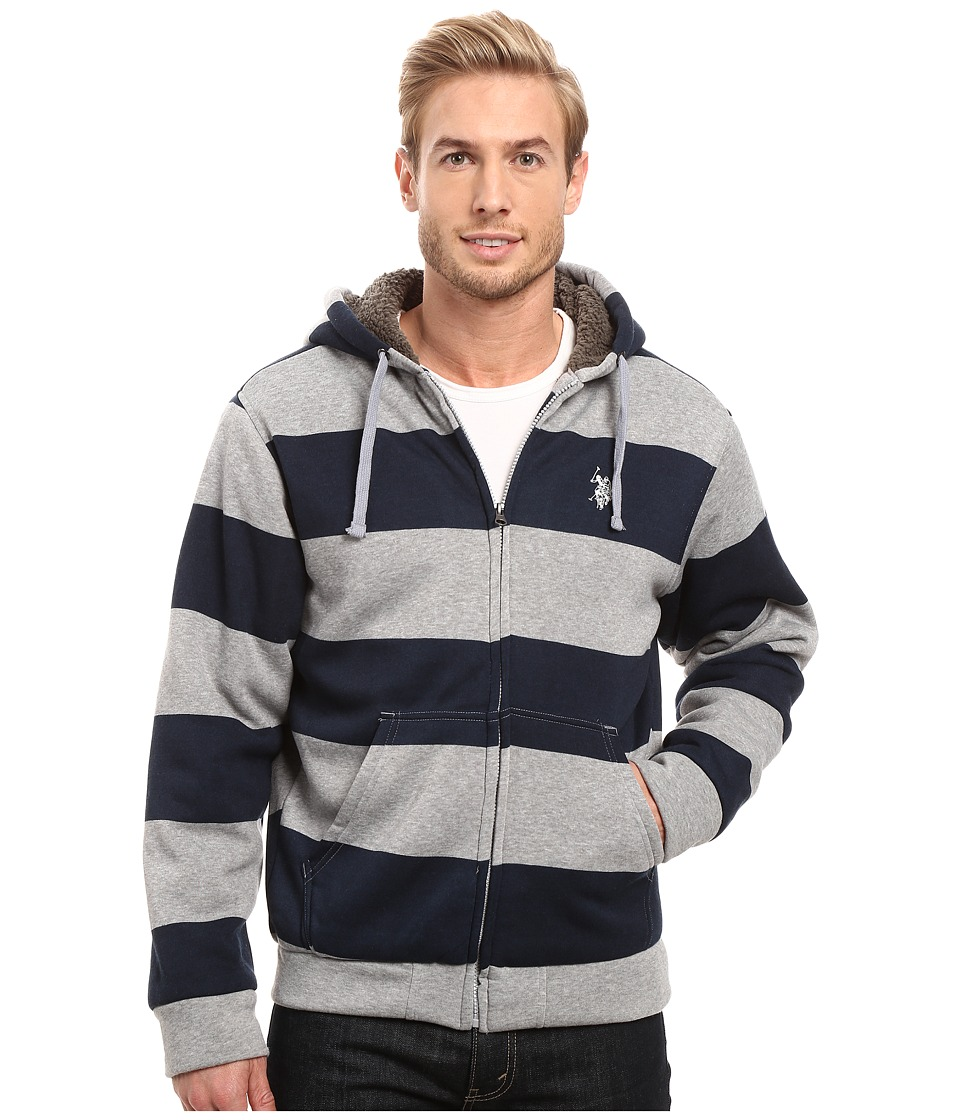 U.S. POLO ASSN. - Rugby Stripe Fleece Hoodie (Classic Navy) Men's Sweatshirt