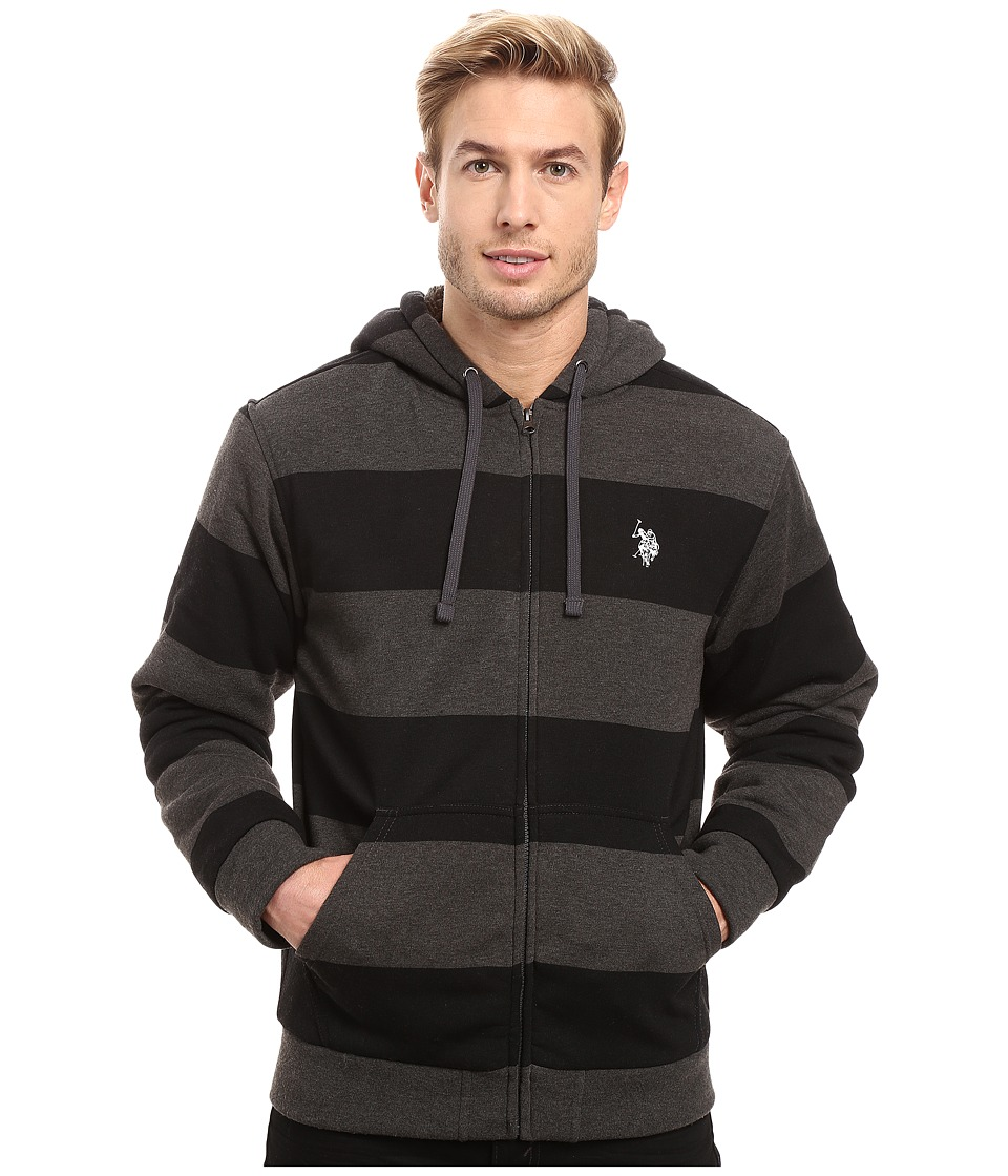 U.S. POLO ASSN. - Rugby Stripe Fleece Hoodie (Black) Men's Sweatshirt