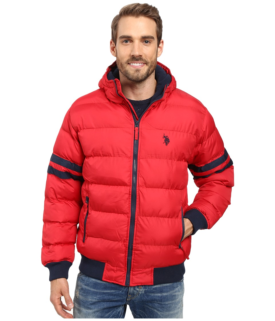 U.S. POLO ASSN. - Hooded Bomber with Sleeve Stripes (Chili Pepper) Men's Jacket