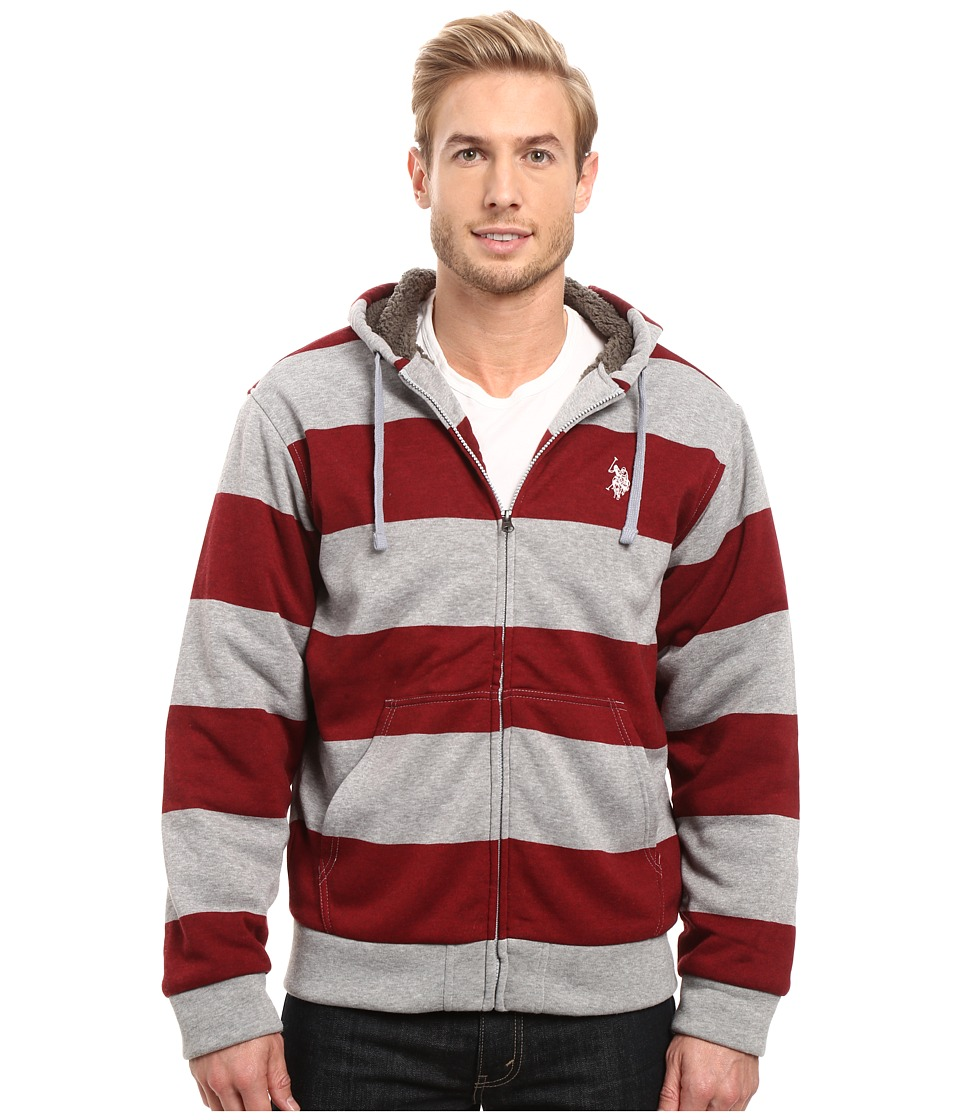U.S. POLO ASSN. - Rugby Stripe Fleece Hoodie (University Red) Men's Sweatshirt