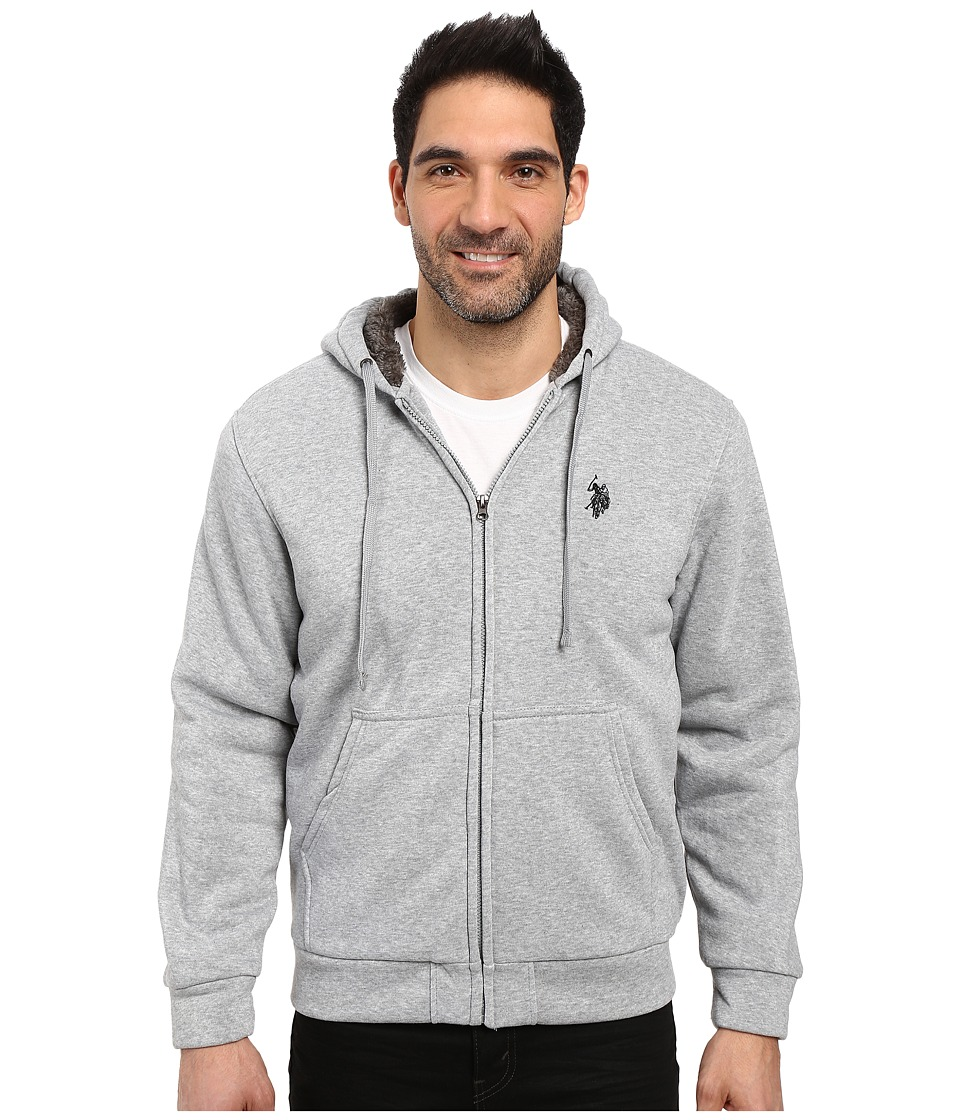 U.S. POLO ASSN. - Fleece Hoodie with Sherpa Lining (Heather Grey) Men's Coat