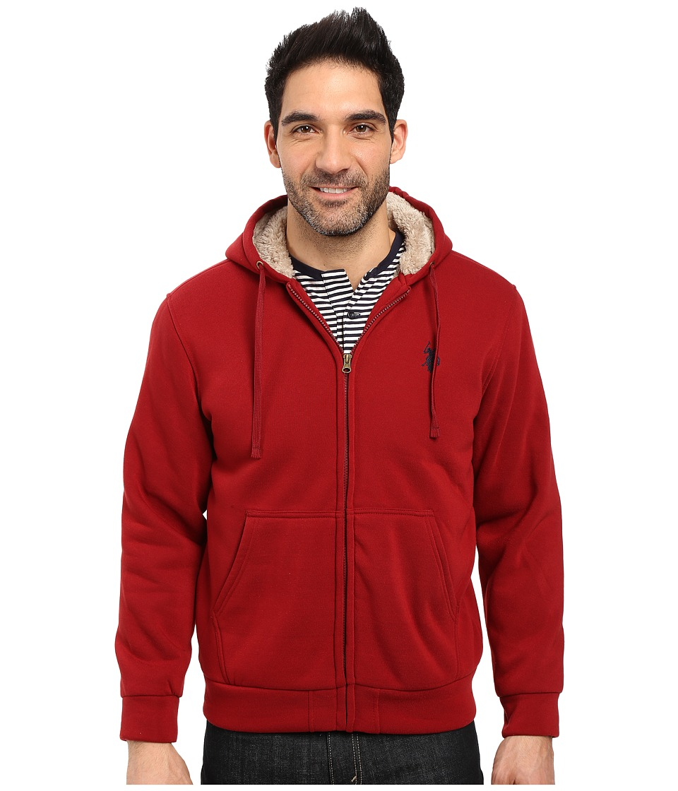 U.S. POLO ASSN. - Fleece Hoodie with Sherpa Lining (University Red) Men's Coat
