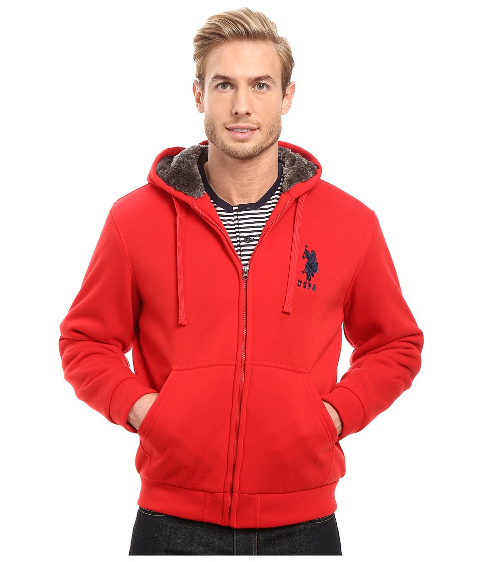 U.S. POLO ASSN. - Sherpa Lined Fleece Hoodie (Engine Red) Men's Sweatshirt