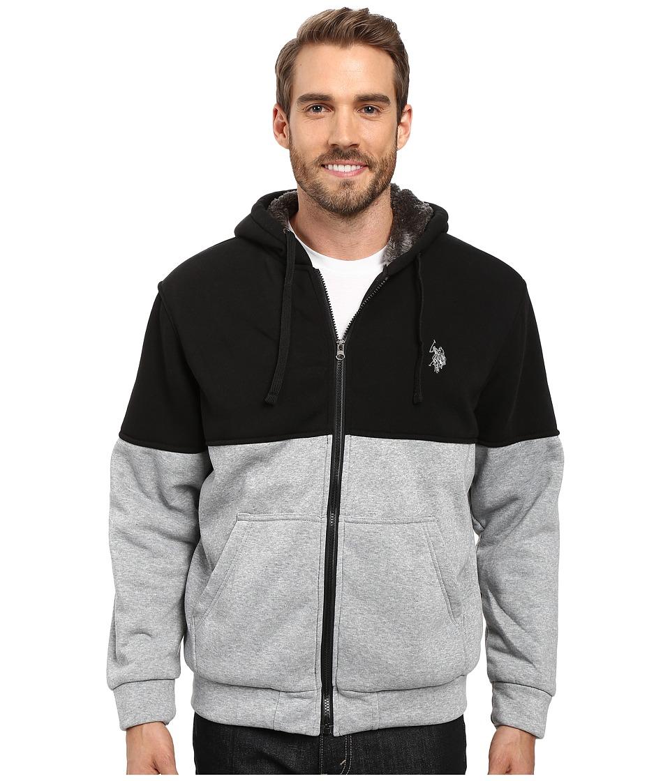 U.S. POLO ASSN. - Color Block Sherpa Hoodie (Black) Men's Sweatshirt