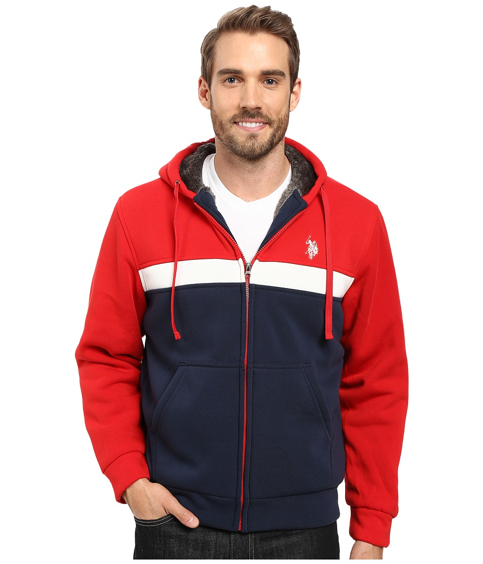 U.S. POLO ASSN. - Color Block Fleece Hoodie (Engine Red) Men's Sweatshirt