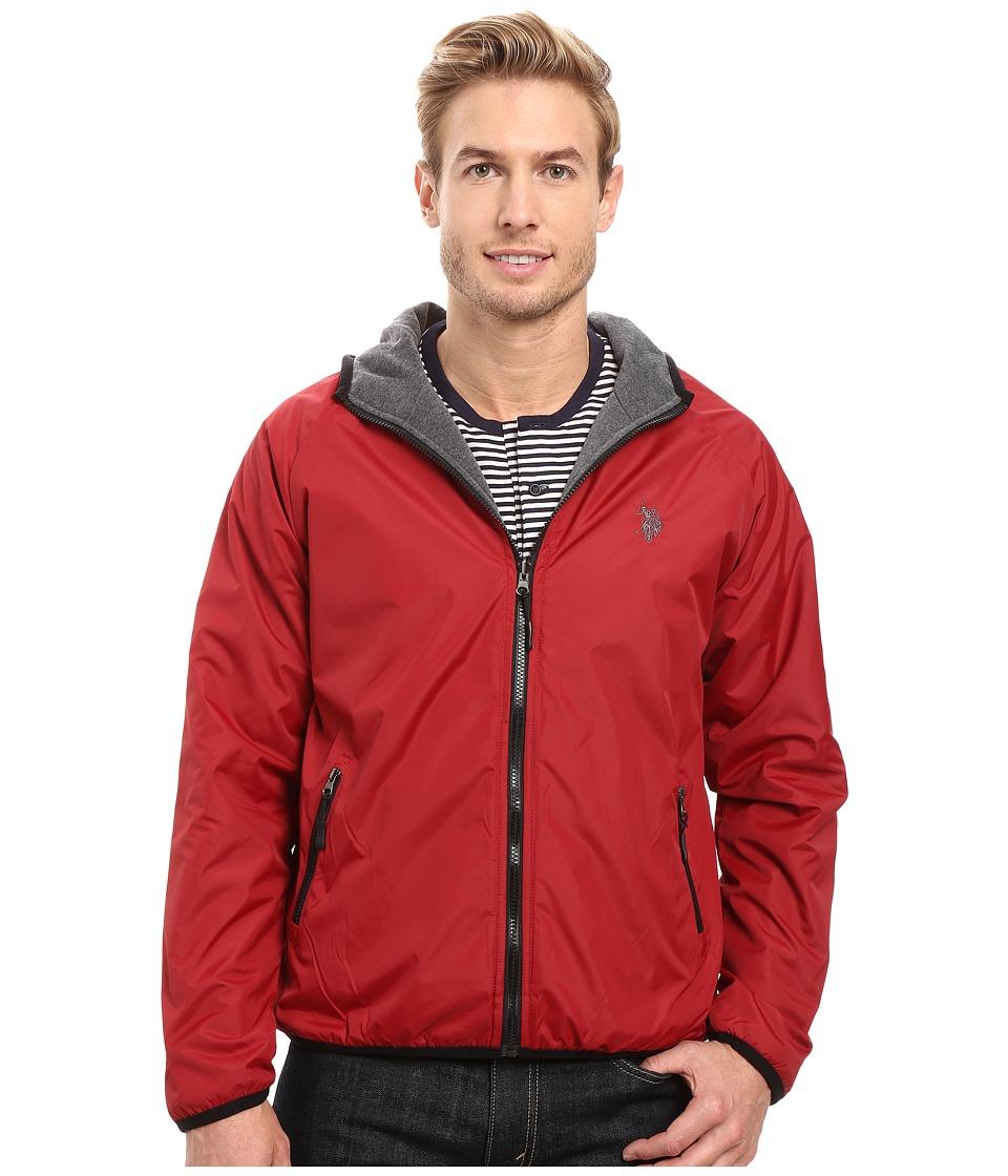 U.S. POLO ASSN. - Reversible Shell Fleece Hoodie (University Red) Men's Sweatshirt