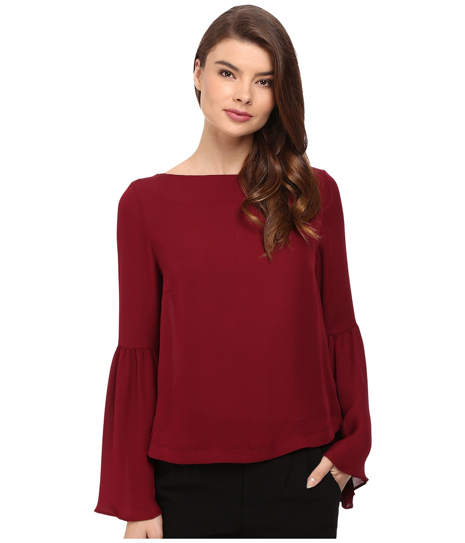 Nicole Miller - Josie Bell Sleeve Silk Blouse (Oxblood) Women's Blouse