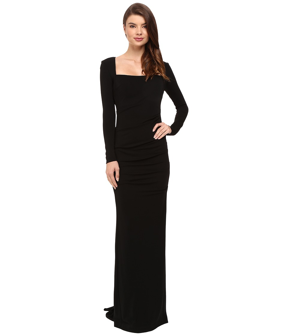 Nicole Miller Long Sleeve Felicity Gown (Black) Women