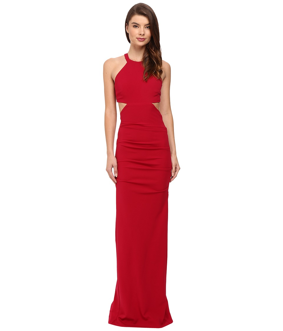 Nicole Miller Belize Cut Out Structured Jersey Gown Red Dress