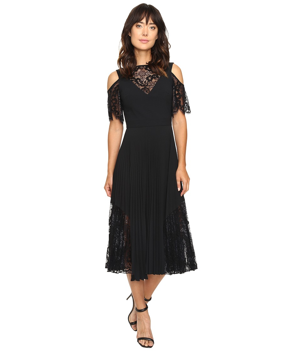 Nicole Miller Danielle Pleated Glazed Lace Combo Dress (Black) Women