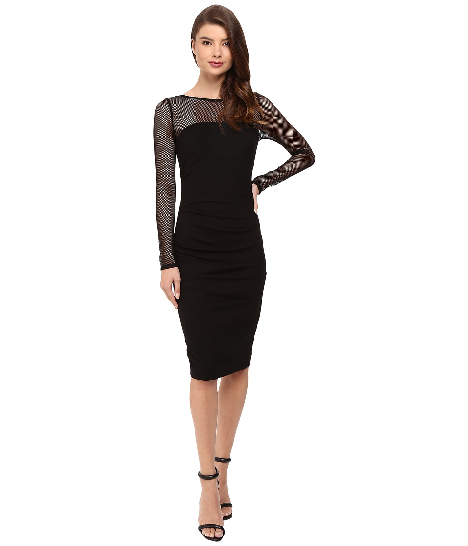 Nicole Miller - Eloise Long Sleeve Ponte Mesh Combo Dress (Black) Women's Dress