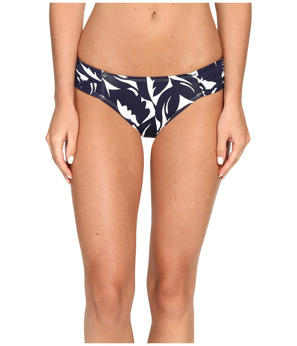 Tommy Bahama - Graphic Jungle Side Shirred Hipster Bottom (Mare Navy/White) Women's Swimwear