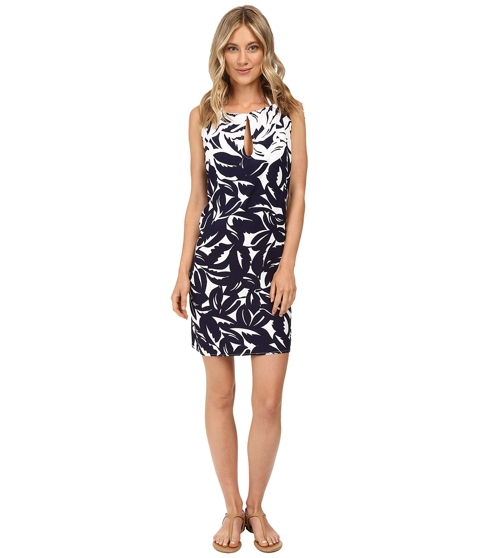 Tommy Bahama - Graphic Jungle High Neck Short Dress Cover-Up (Mare Navy/White) Women's Swimwear
