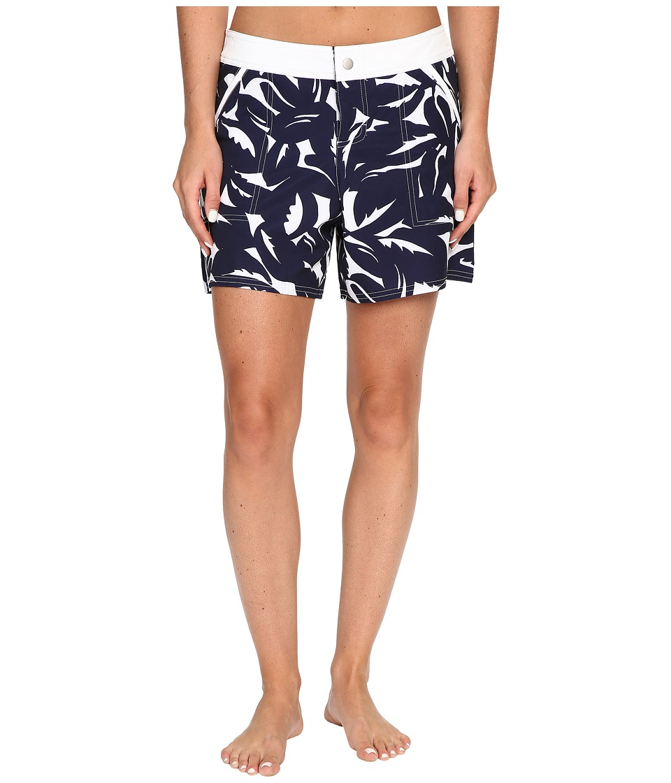 Tommy Bahama - Graphic Jungle Snap Front Boardshorts (Mare Navy/White) Women's Swimwear