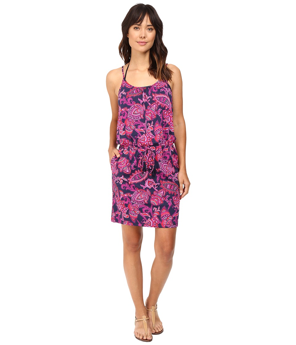 Tommy Bahama - Jacobean Floral Scoop-Neck Swim Dress Cover-Up (Wild Orchid Pink) Women's Swimwear
