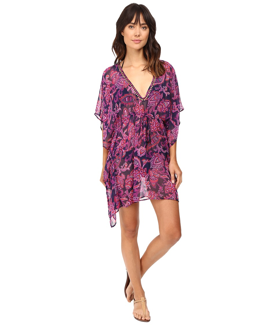 Tommy Bahama - Jacobean Floral Beaded Tunic Cover-Up (Wild Orchid Pink) Women's Swimwear