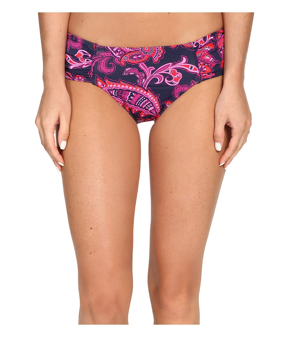 Tommy Bahama Jacobean Floral High-Waist Side-Shirred Bikini Bottom (Wild Orchid Pink) Women