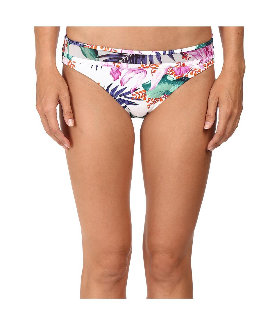 Tommy Bahama - Orchid Canopy Mesh-Overlay Hipster Bikini Bottom (White) Women's Swimwear