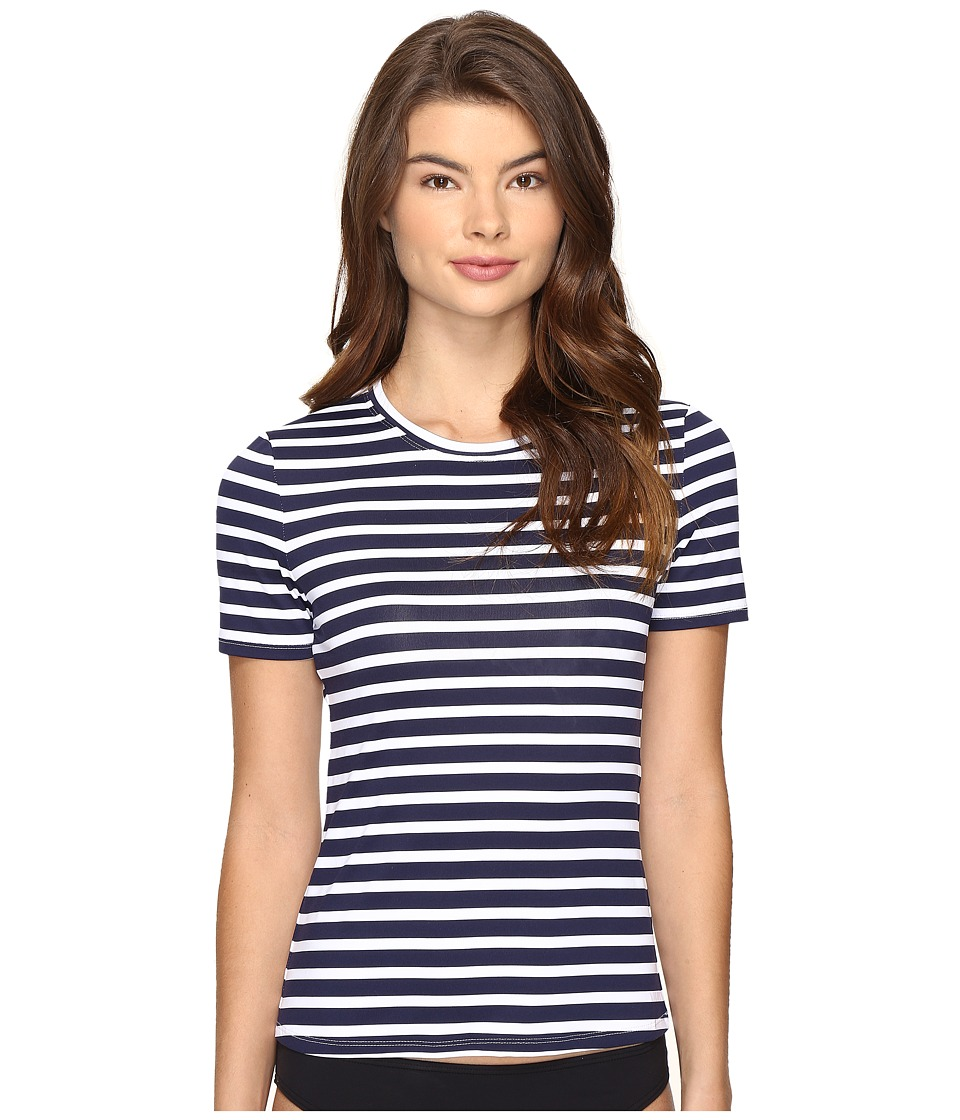 Tommy Bahama - Breton Stripe Short-Sleeve Half-Zip Rash Guard (Mare Navy/White) Women's Swimwear