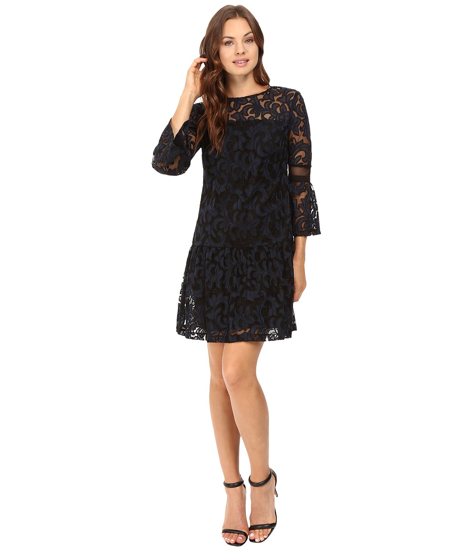 Donna Morgan - A-Line Dress with Ruffle Hem (Black/Marine) Women's Dress