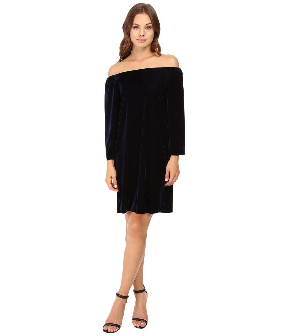Donna Morgan - Off Shoulder Velvet Sheath Dress (Marine Navy) Women's Dress