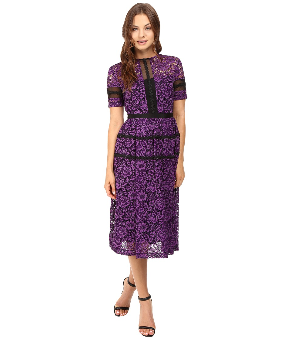 Donna Morgan - Fit and Flare Illusion (Purple Dahlia) Women's Dress