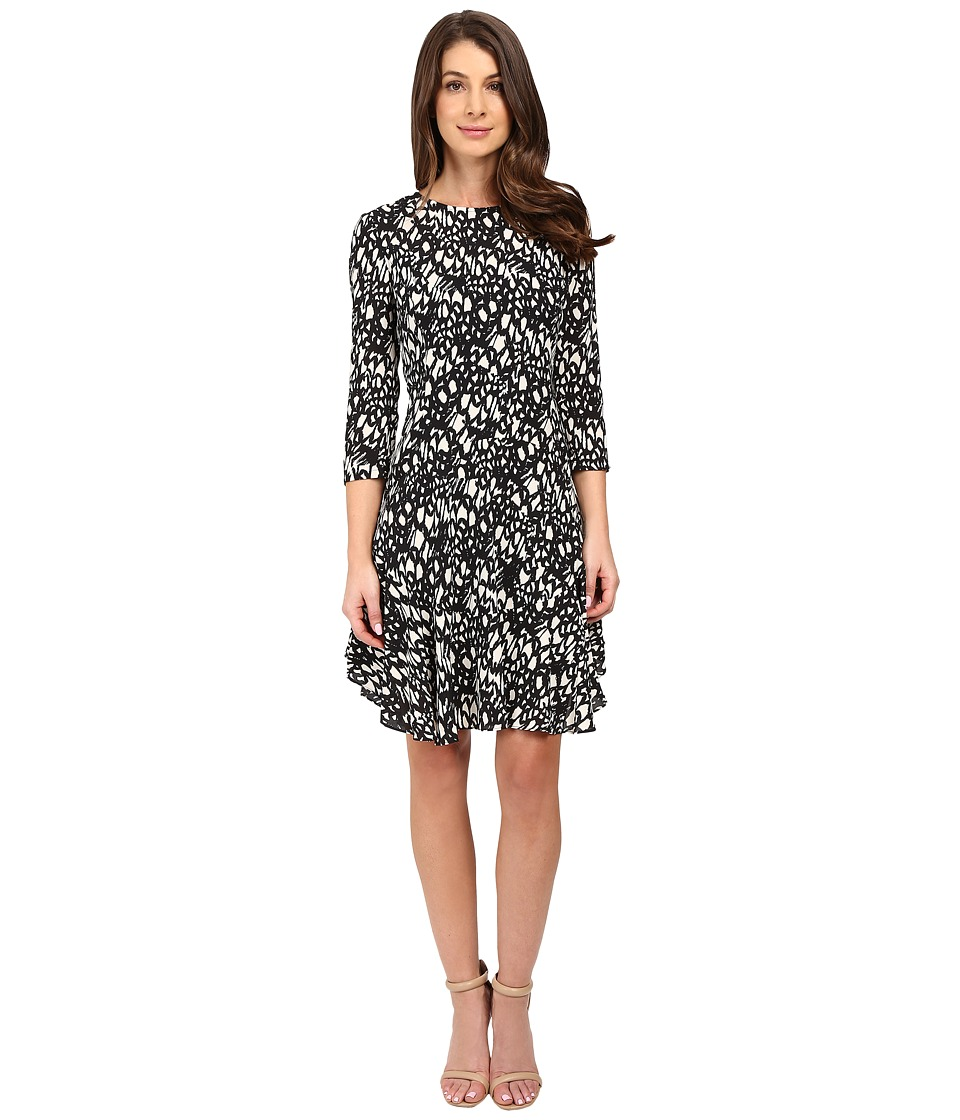 Donna Morgan - 3/4 Sleeve A-Line Dress (Black/Ivory) Women's Dress