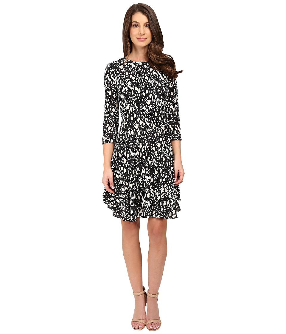 Donna Morgan - 3/4 Sleeve A-Line Dress (Black/Ivory) Women's Dress
