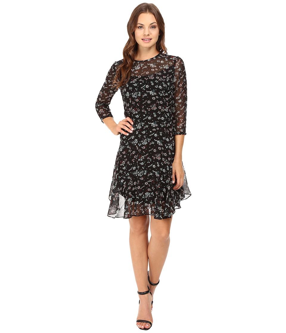 Donna Morgan - 3/4 Sleeve A-Line Dress (Deep Black) Women's Dress