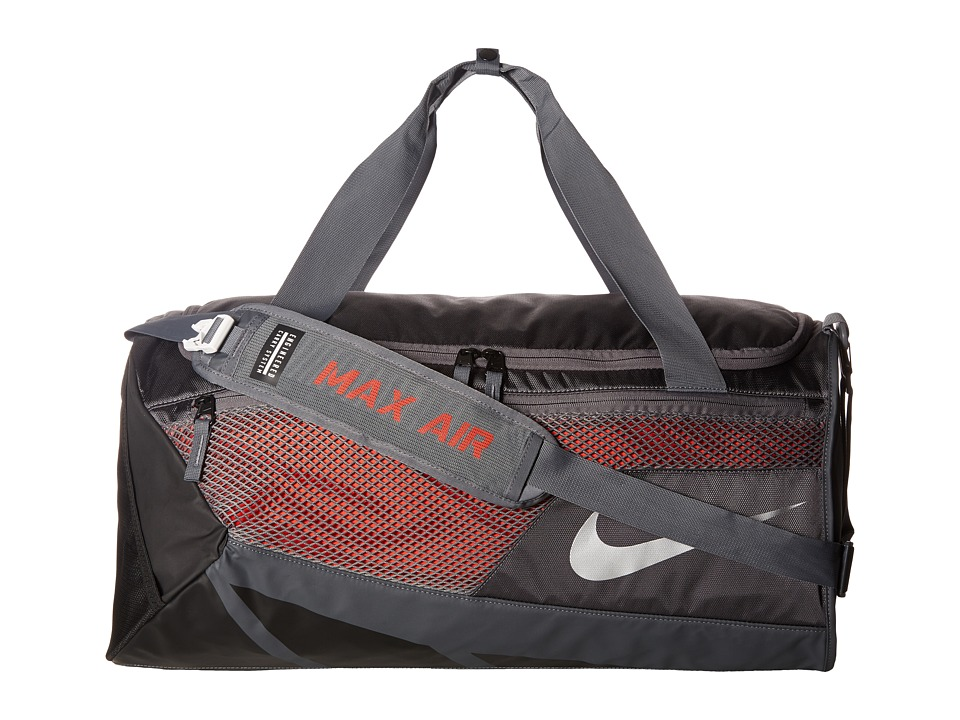 Nike - Vapor Max Air 2.0 Medium Duffel Bag (Dark Grey/Max Orange/Metallic Silver) Duffel Bags