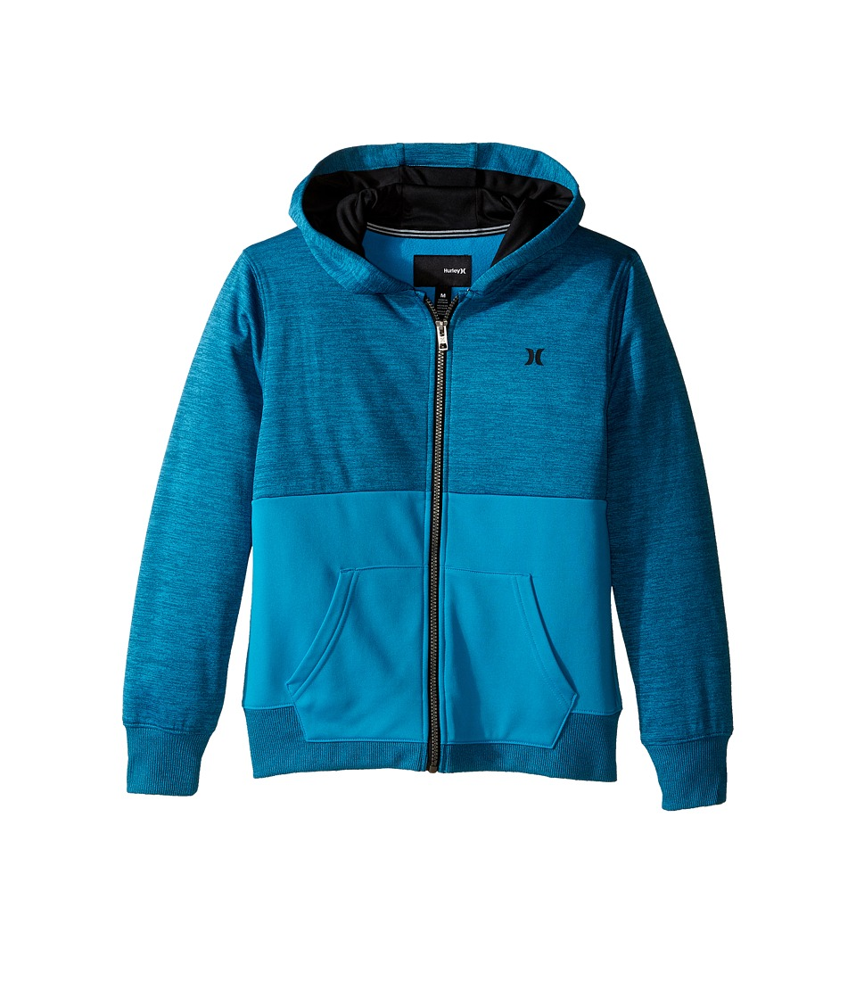 Hurley Kids - Therma Fit Sunrise Zip (Big Kids) (Blue Lagoon Space Dyed Heather) Boy's Sweatshirt