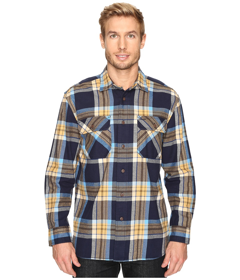 Pendleton - L/S Burnside Shirt (Blue/Gold Plaid) Men's Long Sleeve Button Up