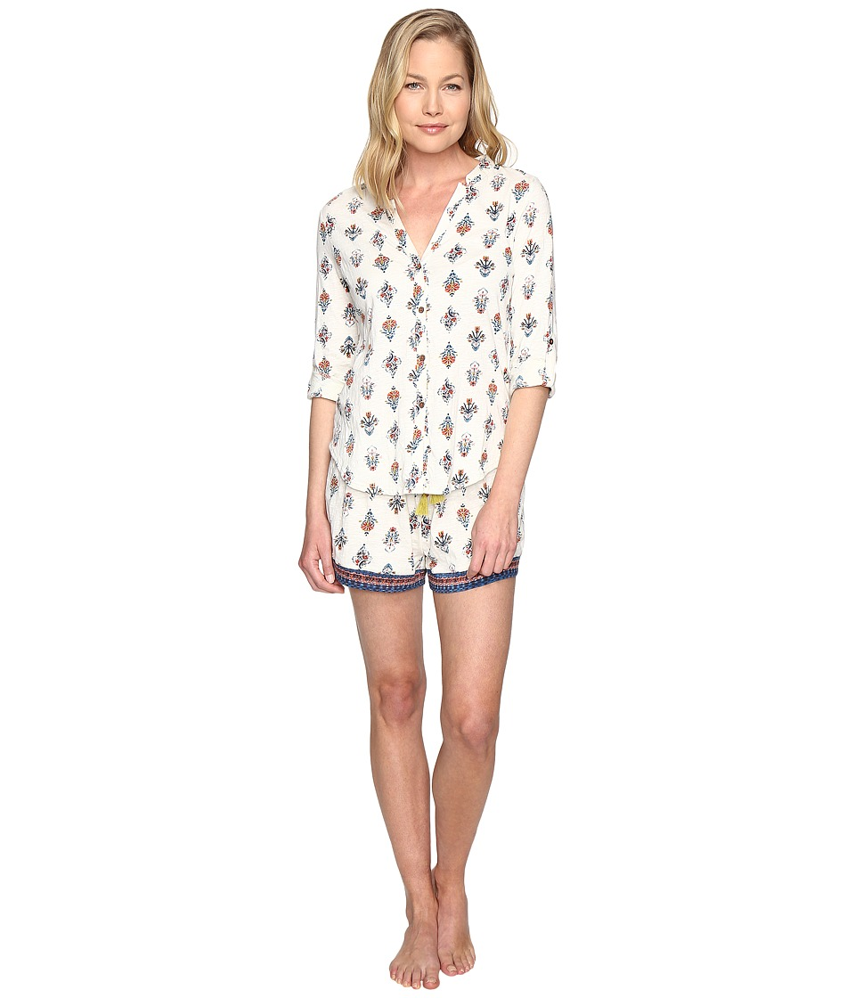 Lucky Brand - Boyfriend Shorty Set (Ivory Deco Floral) Women's Pajama Sets