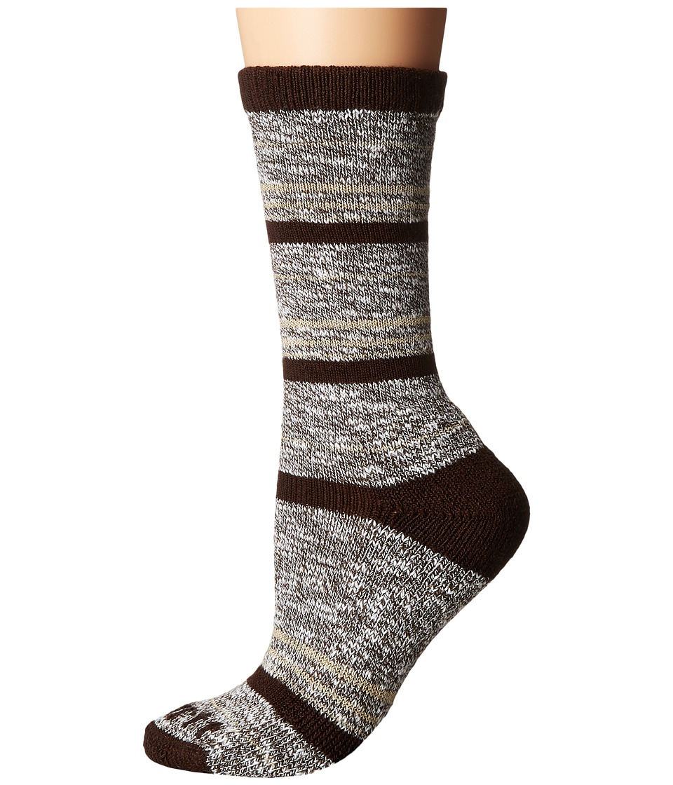 Carhartt - Merino Wool Blend Slub Stripe (Brown) Women's Crew Cut Socks Shoes