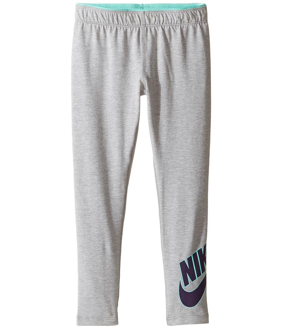 Nike Kids - Club Futura Leggings (Little Kids) (Dark Grey Heather) Girl's Casual Pants