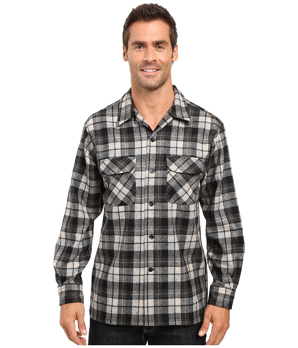 Pendleton - L/S Board Shirt (Grey Plaid) Men's Long Sleeve Button Up