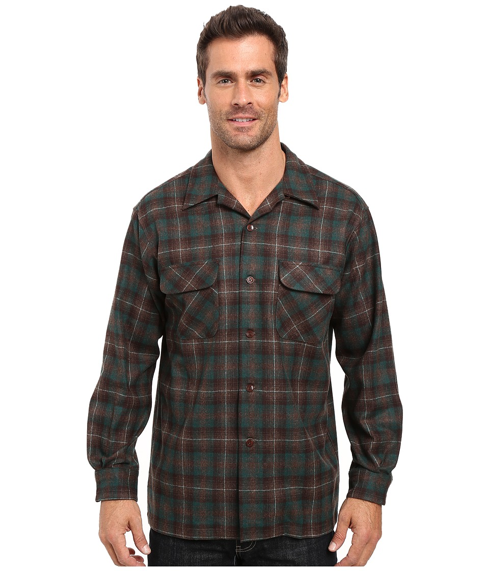 Pendleton - L/S Board Shirt (Brown/Green Plaid) Men's Long Sleeve Button Up