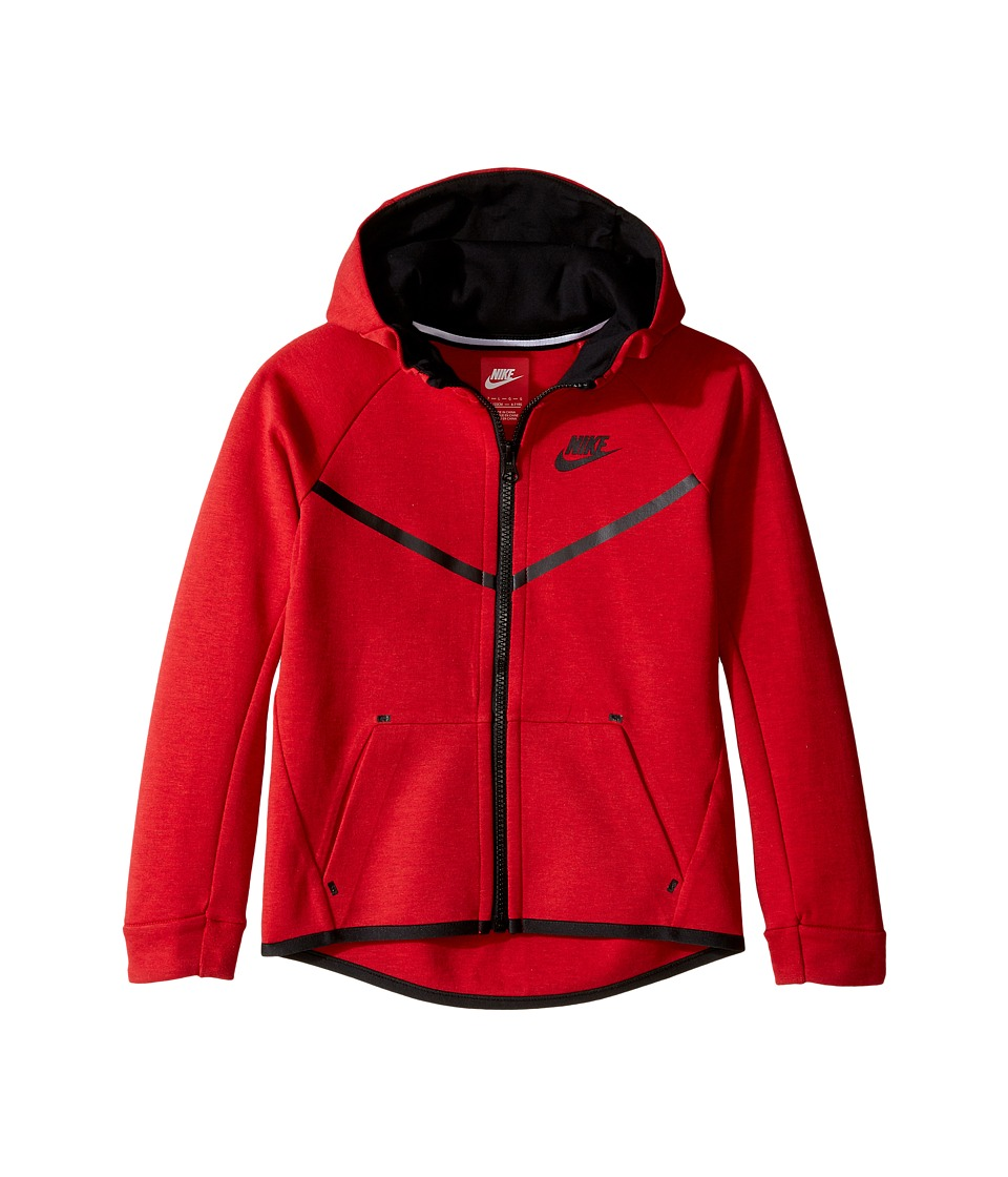 Nike Kids - Tech Fleece Full Zip Hoodie (Little Kids) (University Red Heather) Boy's T Shirt