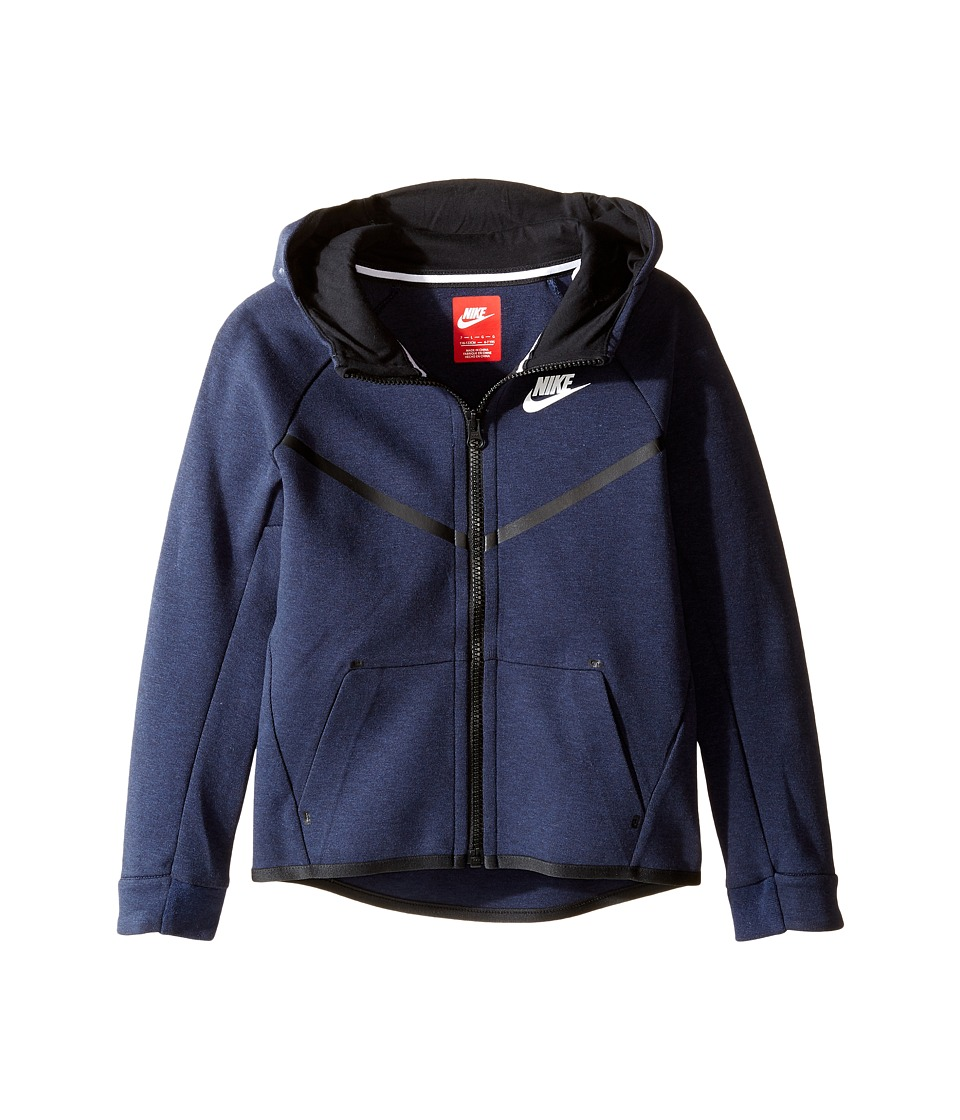Nike Kids - Tech Fleece Full Zip Hoodie (Little Kids) (Obsidian Heather) Boy's T Shirt
