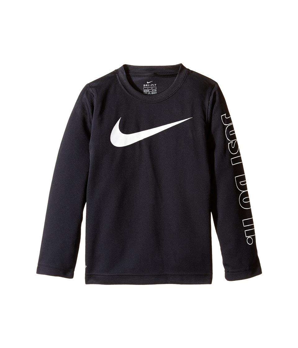 Nike Kids - Swoosh Just Do It Dri-Fit Tee (Little Kids) (Black) Boy's T Shirt